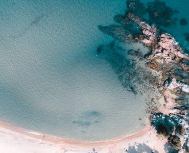 an aerial view of the beach