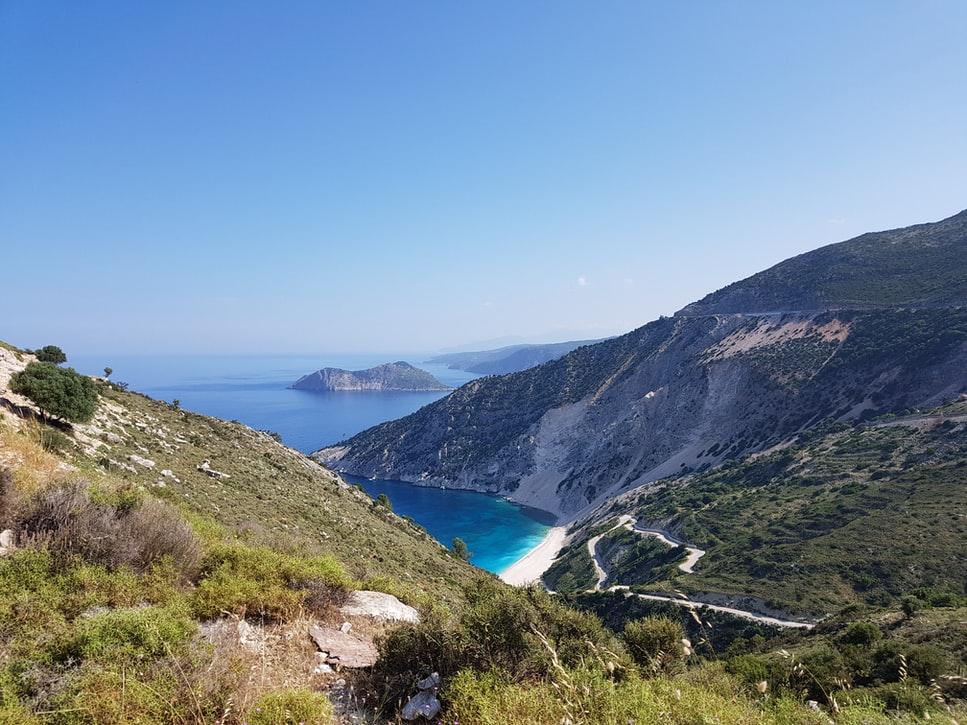 Myrtos beach and limestone cliffs
