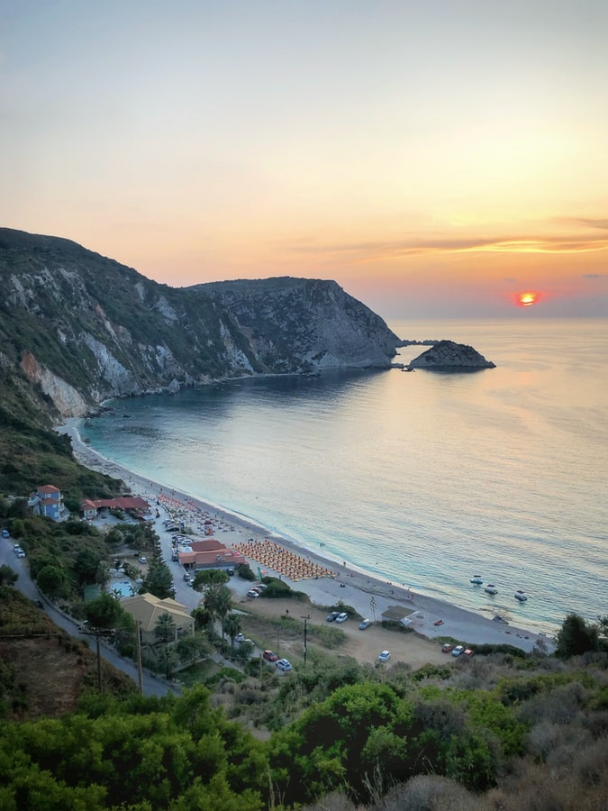 aerial view of the Antisamos beach