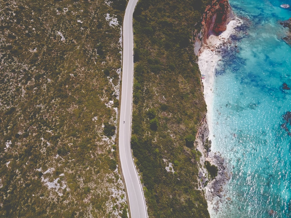 road and the parallel seashore