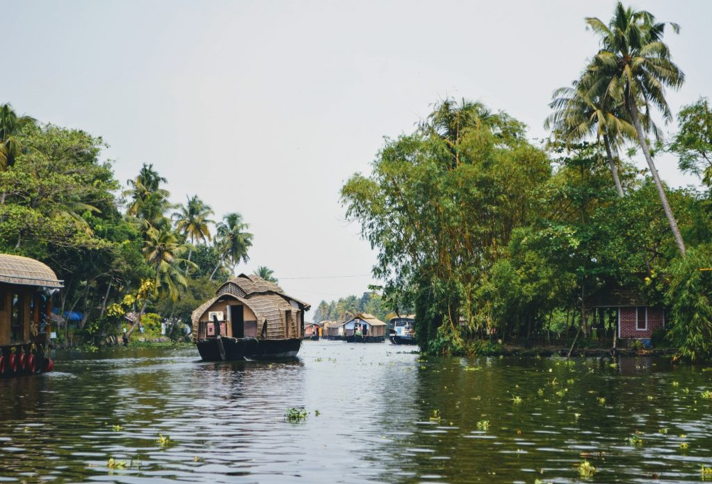 A beautiful picture of a houseboat in a lake in Allepey