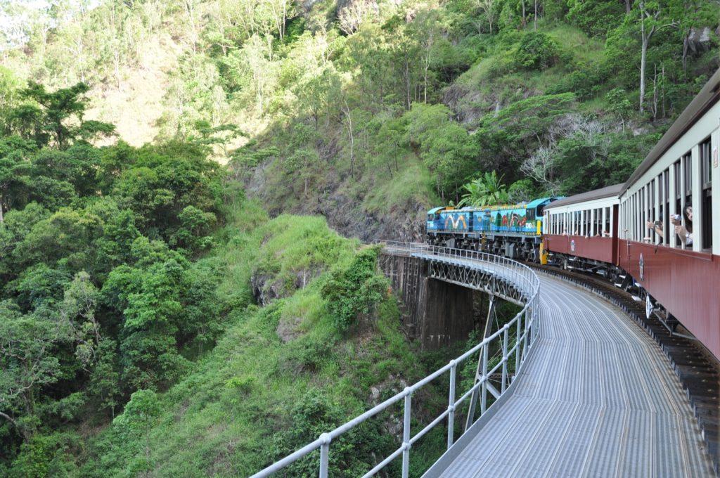 a train crossing over a bridge