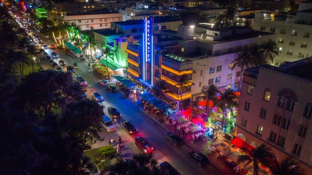 Miami building in the night