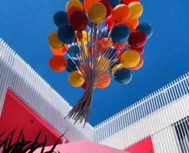 Balloons flying above