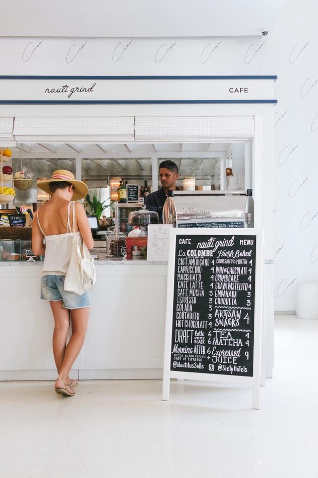 a lady in a café
