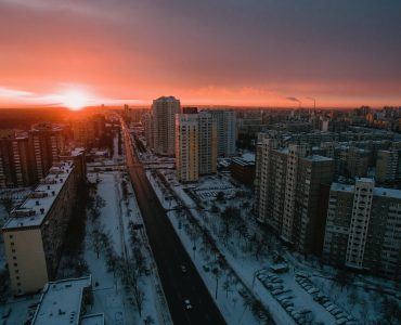 A drone shot of the streets of Kiev.