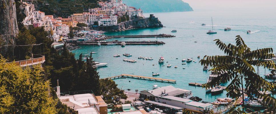 amazing drone view of Amalfi coast