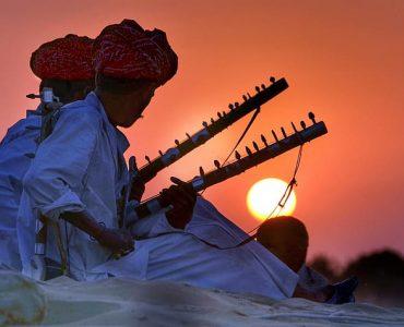 artists performing music at Rajasthan