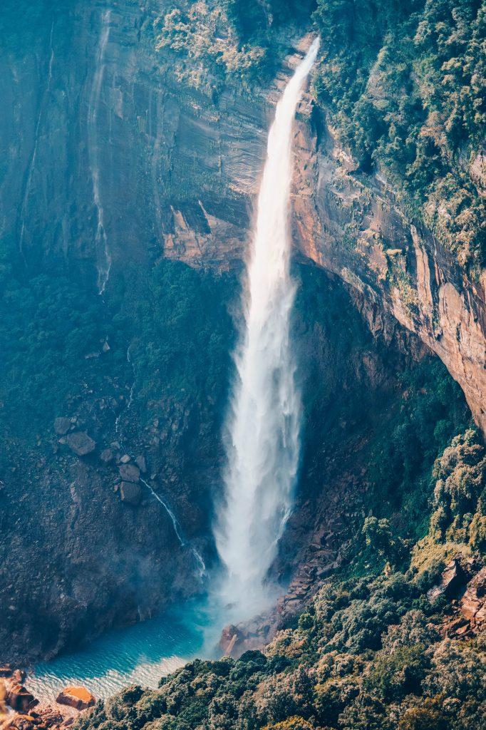 Top perspective view of Nohkalikai Falls in Meghalaya
