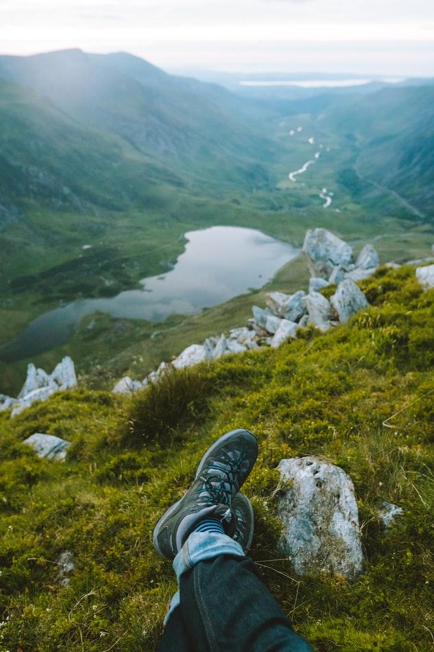 a trekker at the Snowdon summit