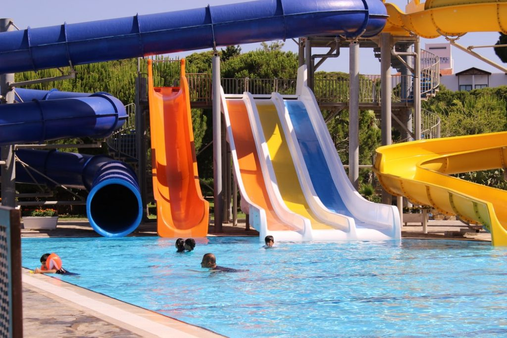 Water slides at the water parks in New Zealand