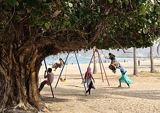 Kids playing in the playground area