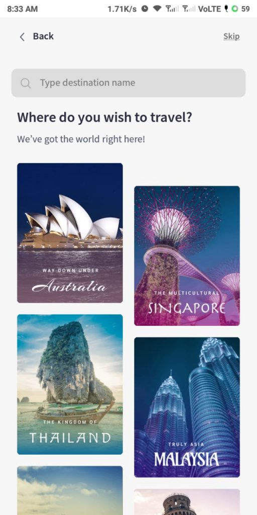 list of countries that you can explore in the Pickyourtrail app