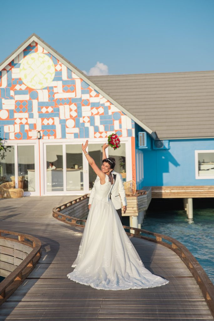 A bride during her wedding in a resort