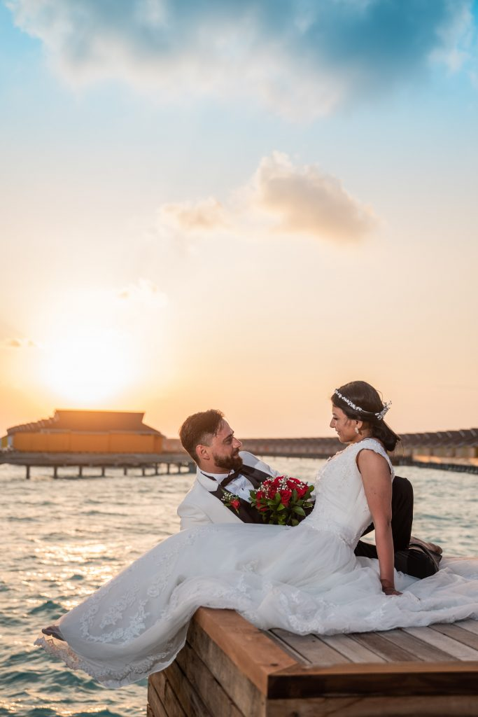 A wedding couple in the Maldives