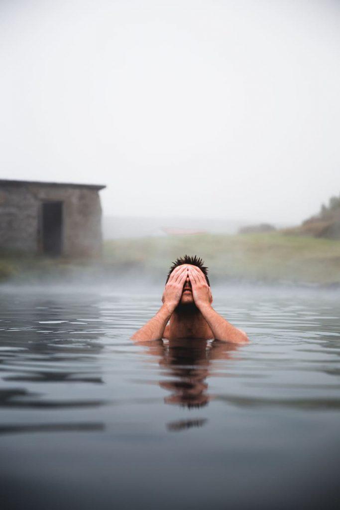 A man relaxing in hot springs