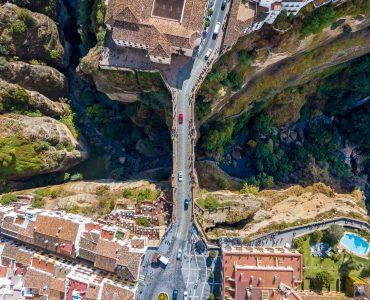 The bird view of the iconic bridge of Ronda
