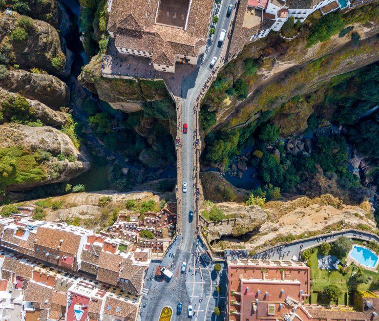 The bird view of the iconic bridge of Ronda