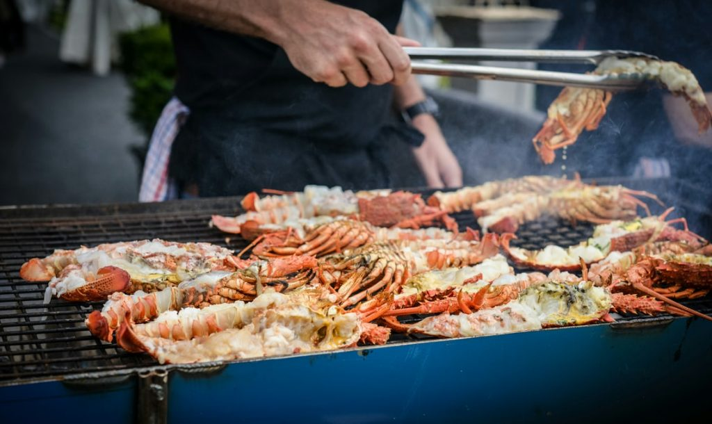 Sea food on grill