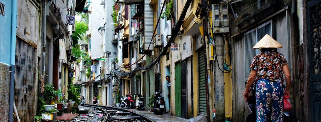 the empty train street in Hanoi