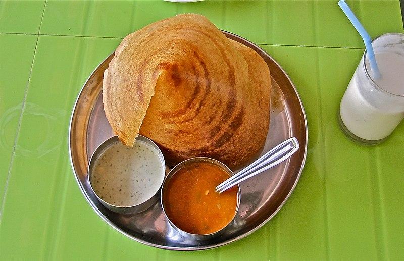Dosa with kerala style sambar