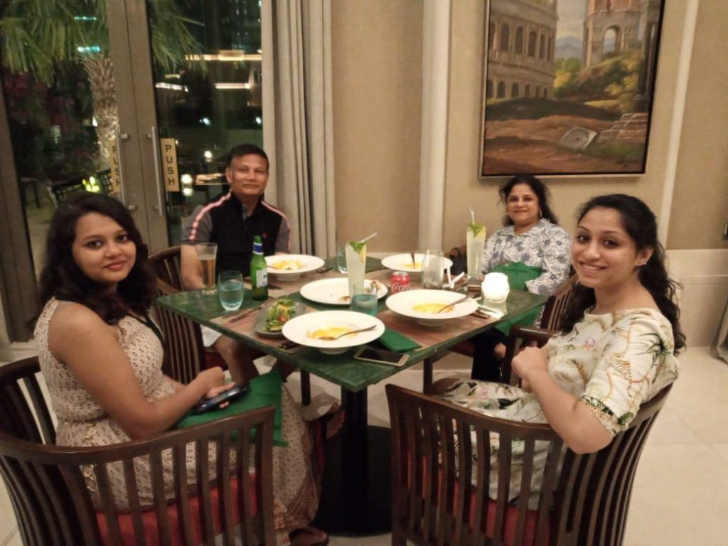 Family dinner during our Staycation to Dubai