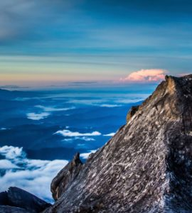 The summit of Mount Kinabalu in Borneo.