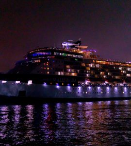 A cruise ship at night