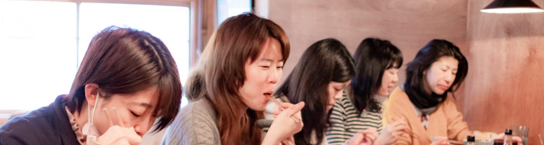 Ladies eating in a restaurant
