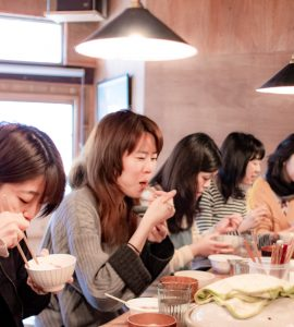 Ladies eating in a restaurant