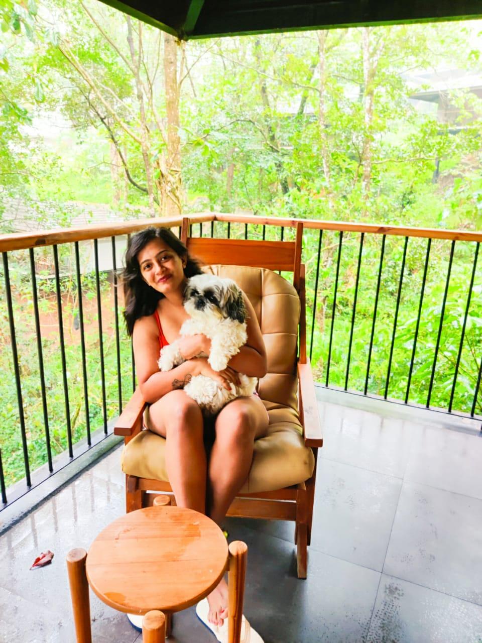 relaxing in the balcony
