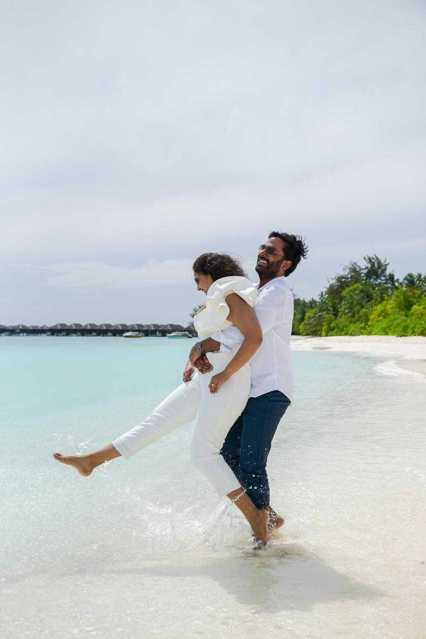A couple enjoying in Maldives