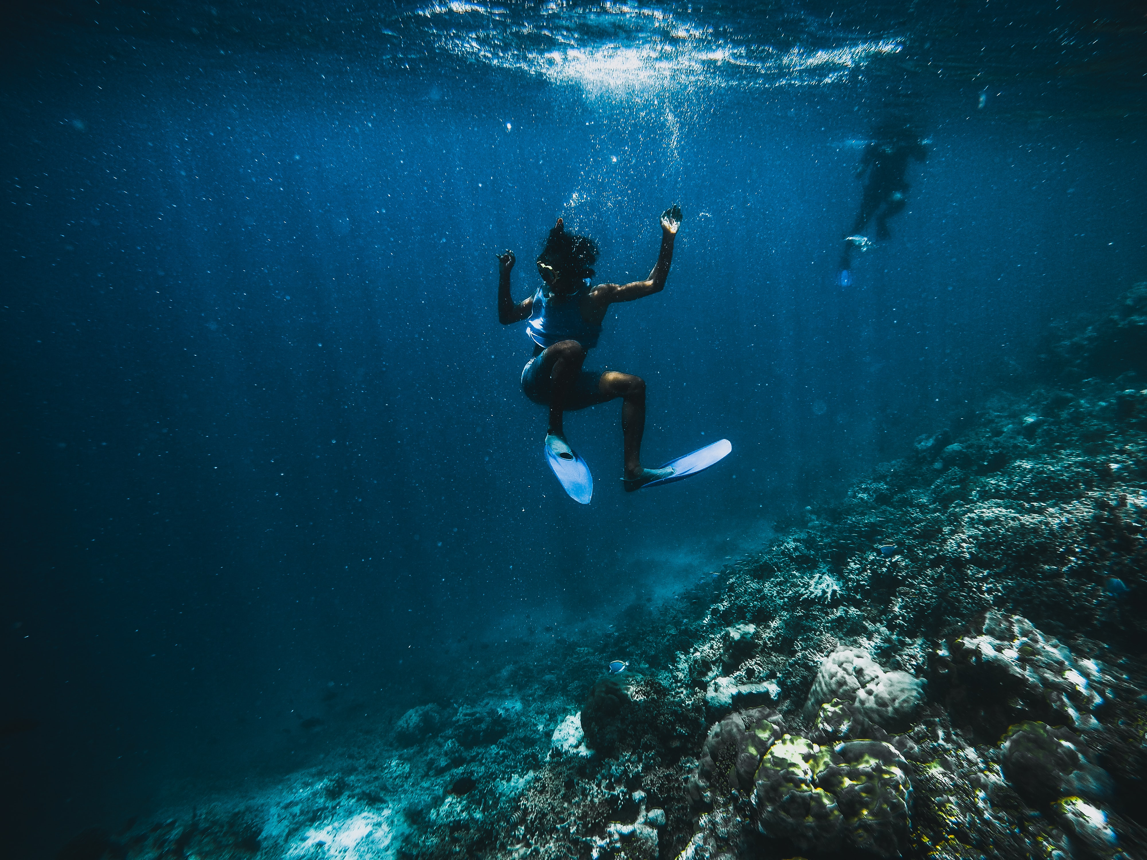 A picture of a girl diving into the waters