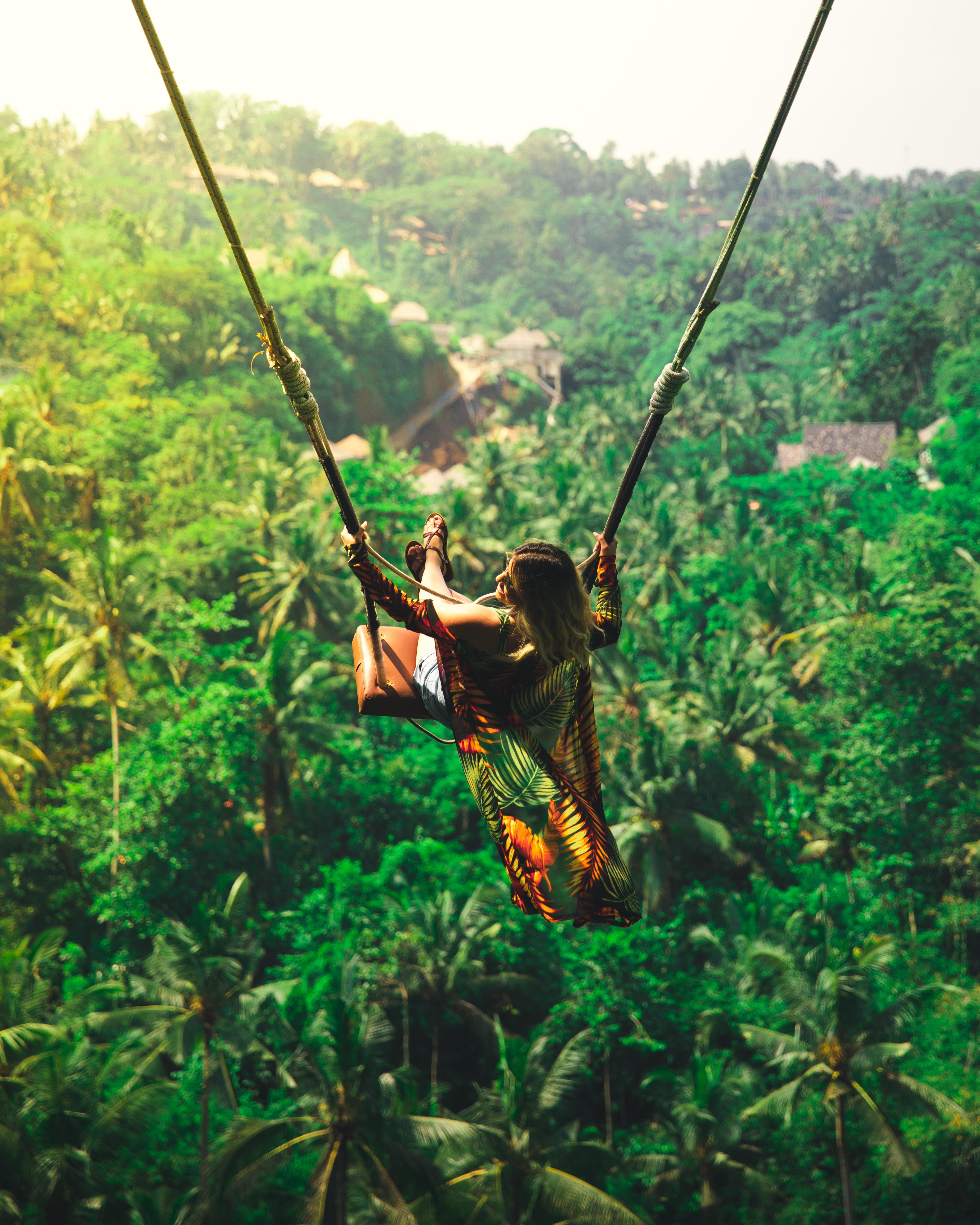 A girl on a swing in Bali