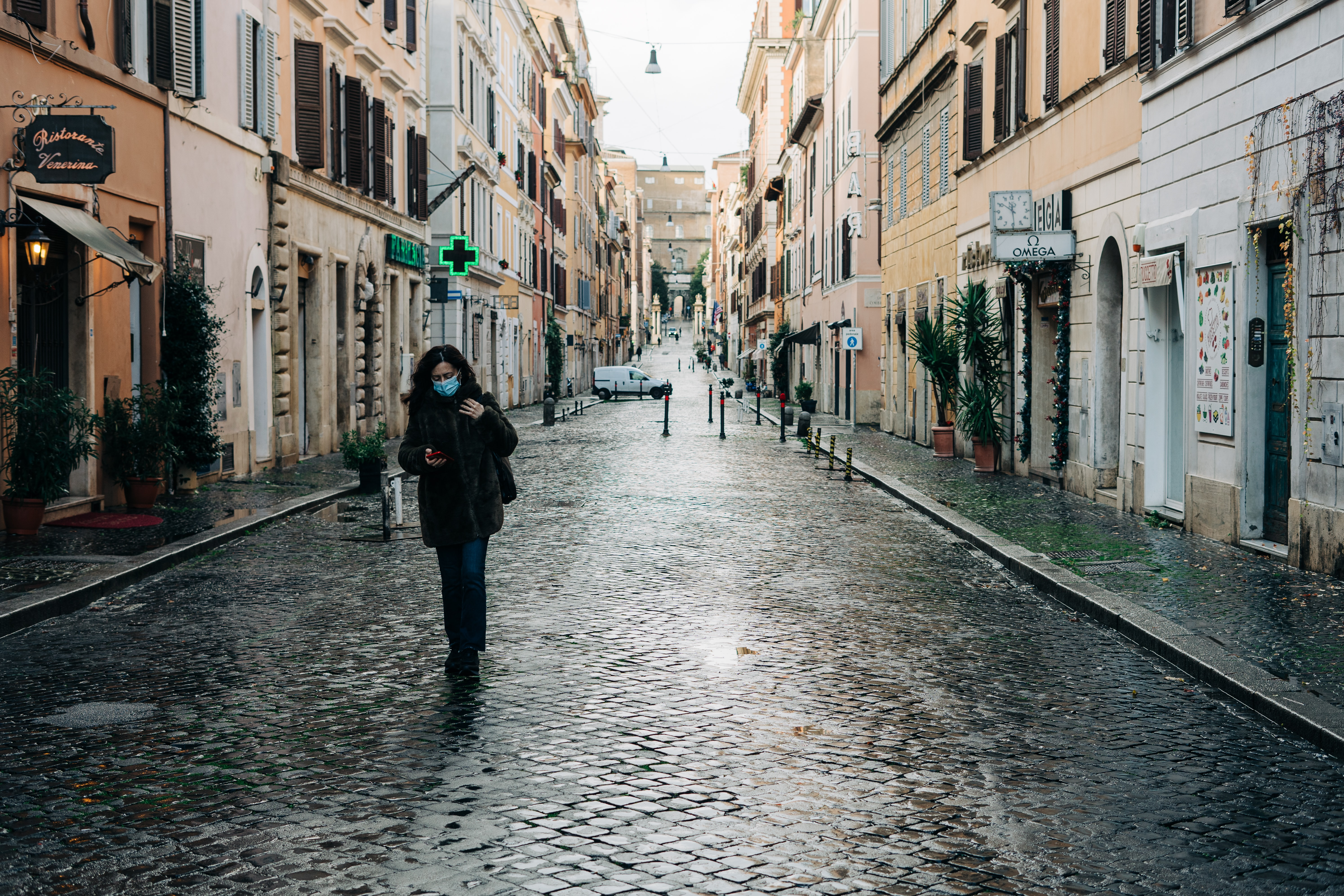 A girl with a mask in Italy