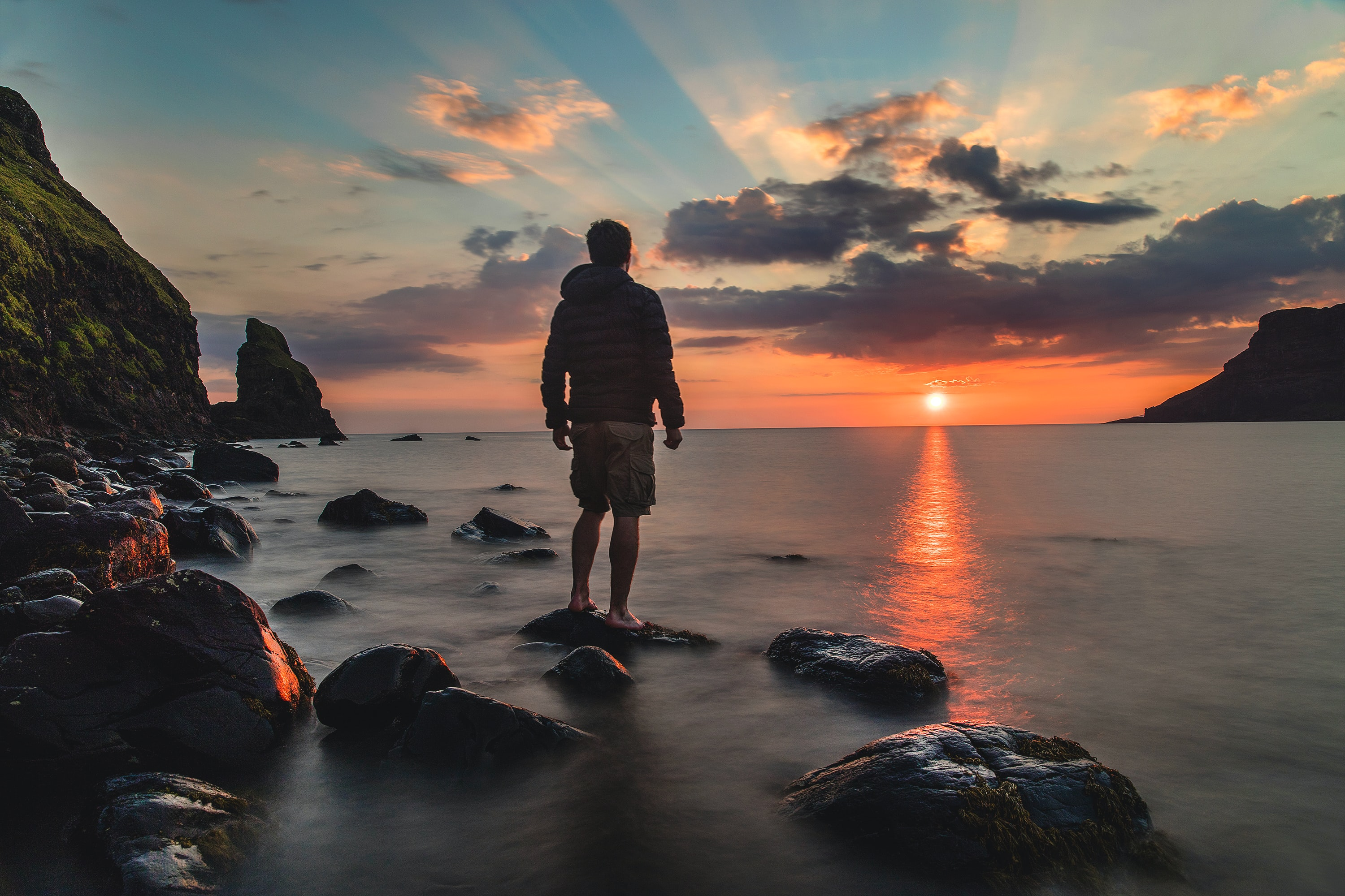 A man watching the sunset