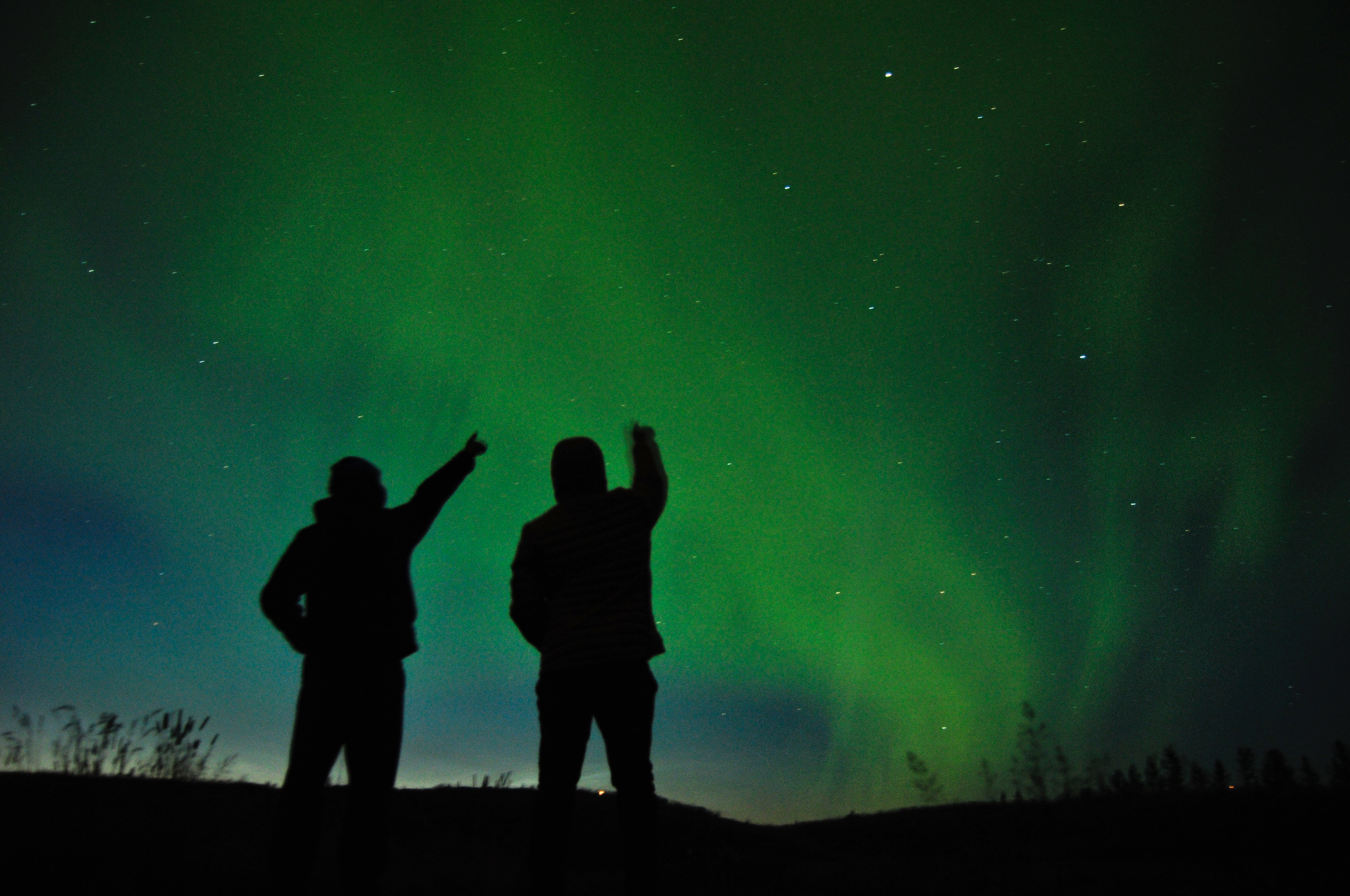 The pic shows beautiful northern lights in Iceland
