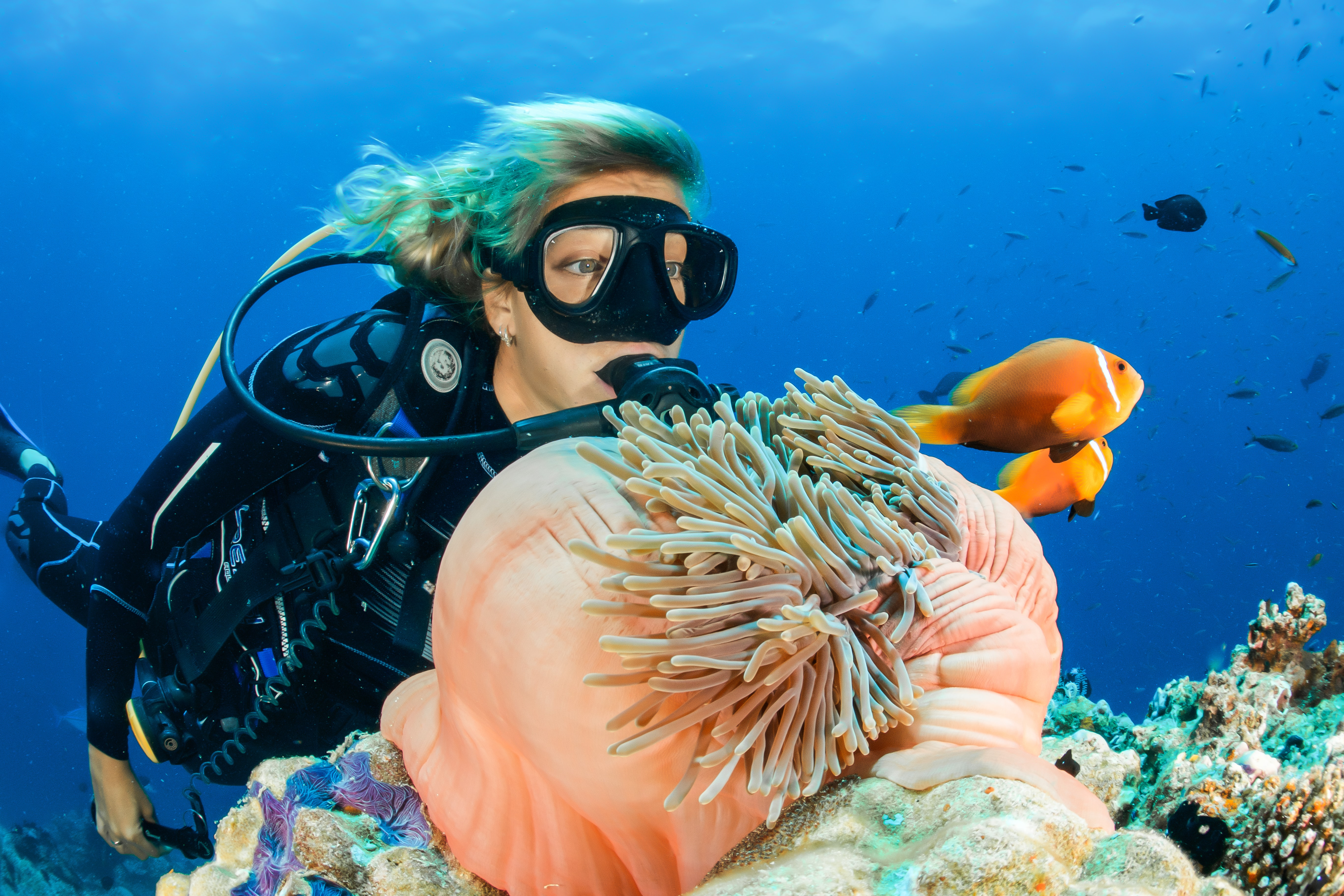 A girl exploring coral reefs in the Maldives