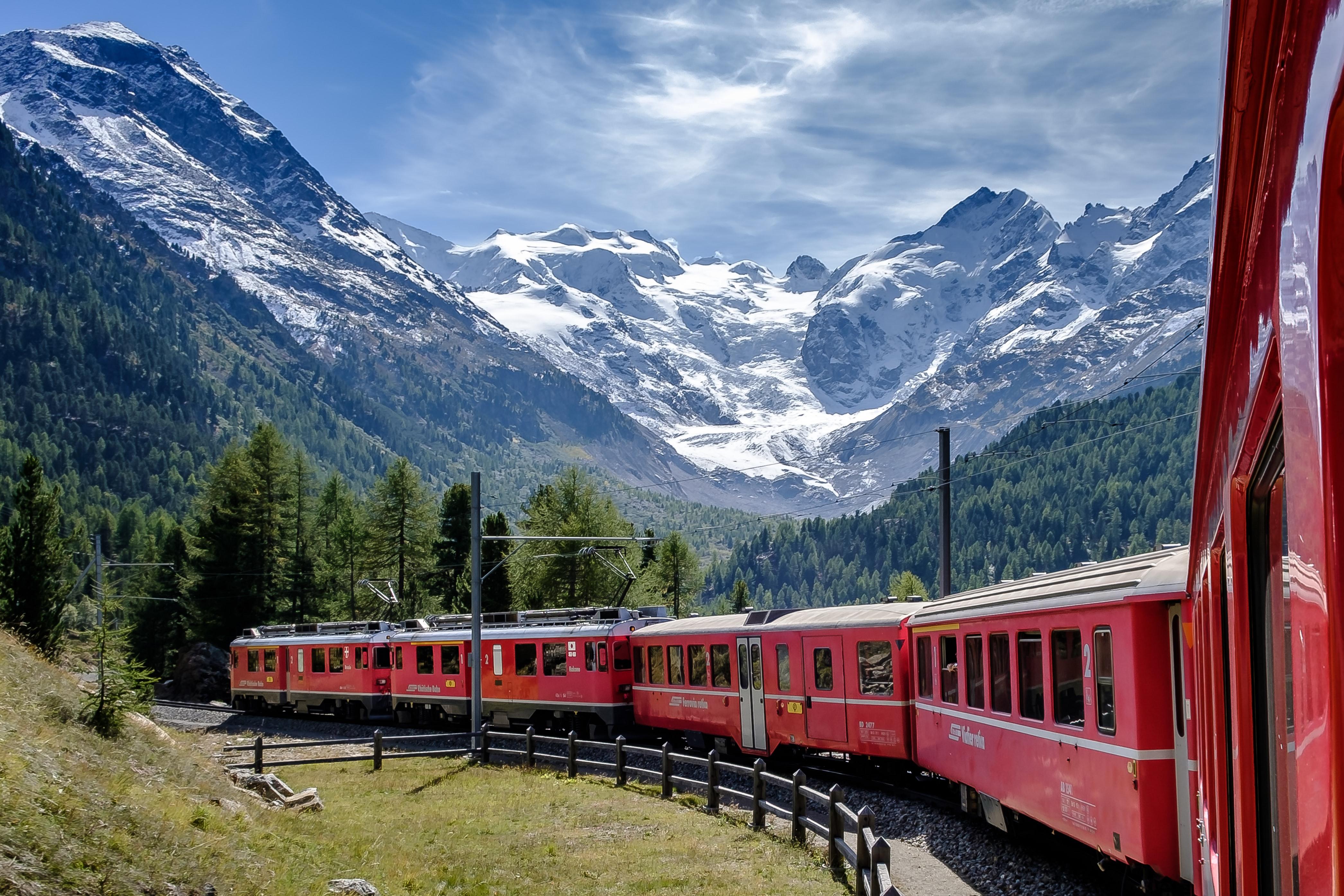 bernina express, most scenic train journeys to take in Switzerland
