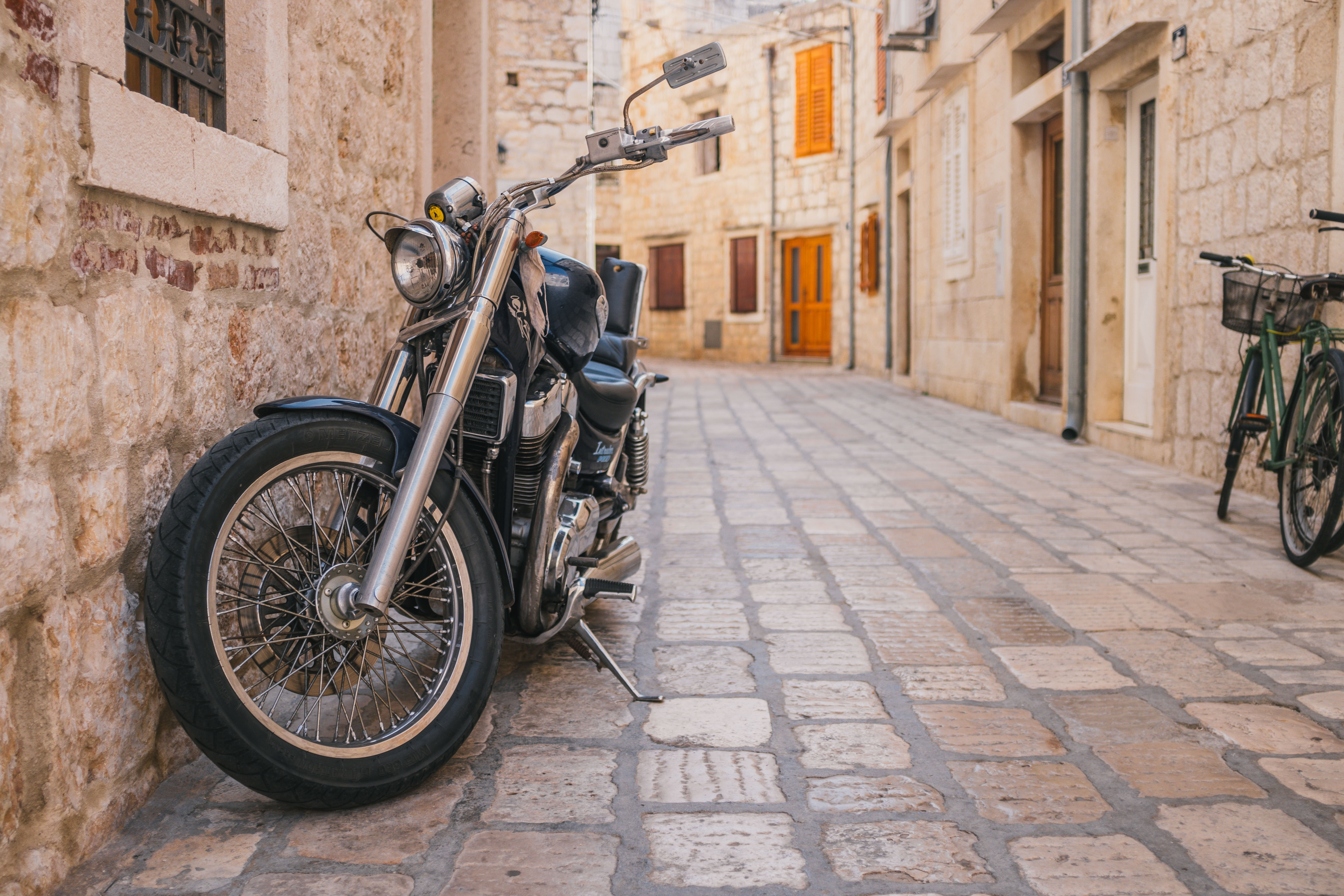 Travel by motorcycle in Hvar, Croatia