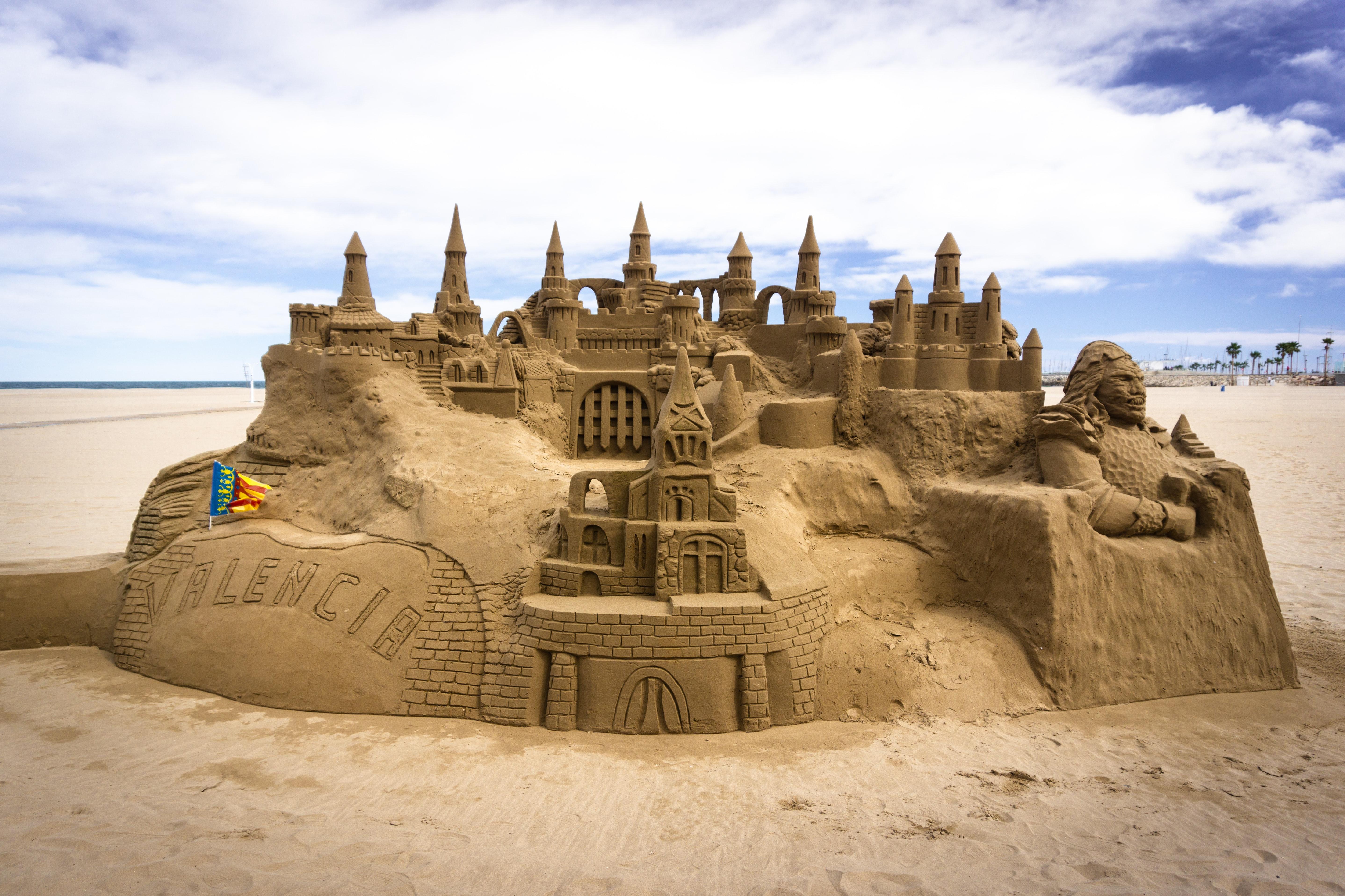 Giant sand castle, Valencia, Spain, Beaches
