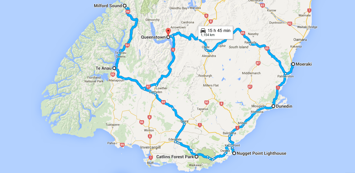 South Island Road Trip Map of New Zealand