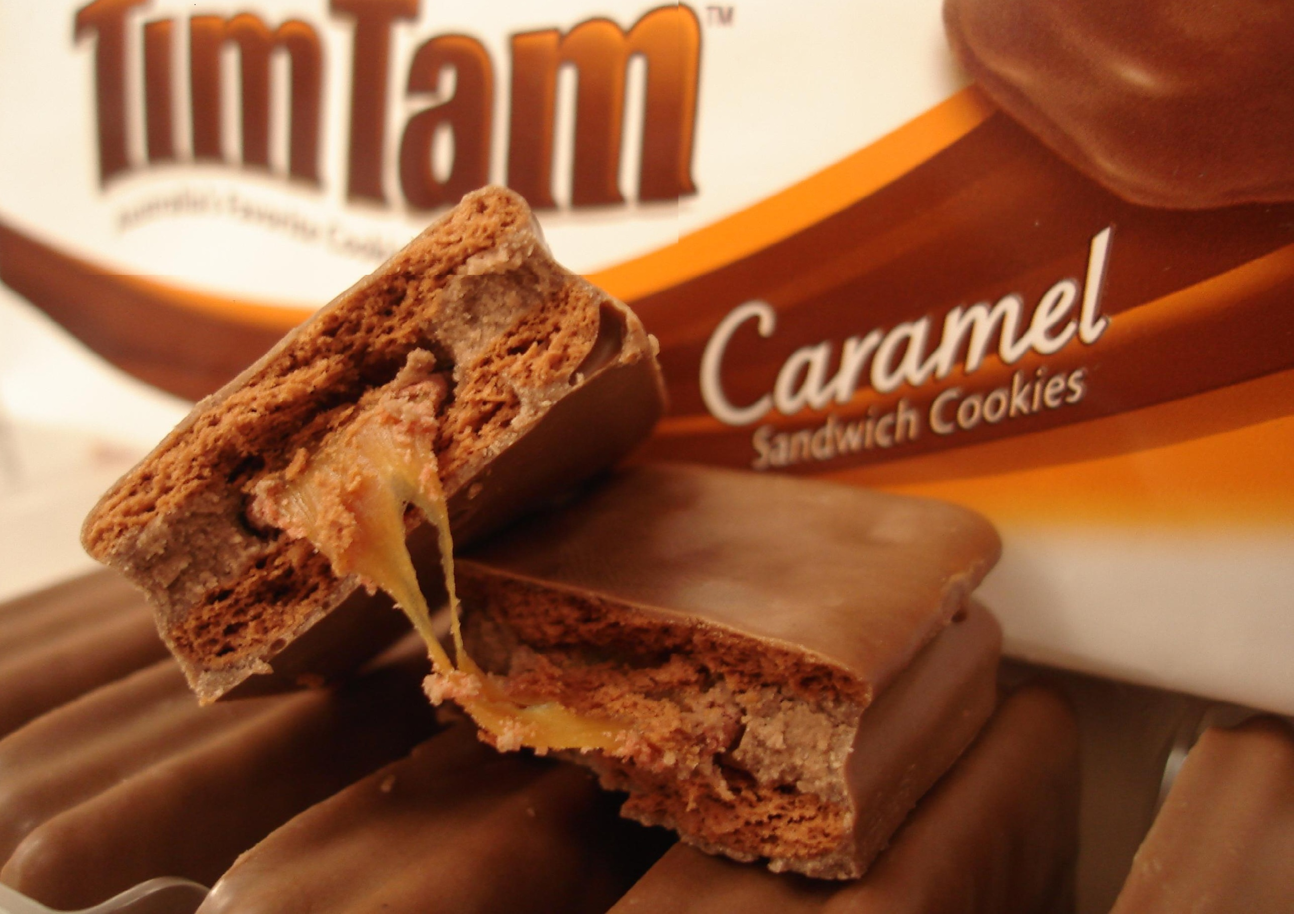 Tim Tams are chocolate covered caramel filled biscuits made in Australia