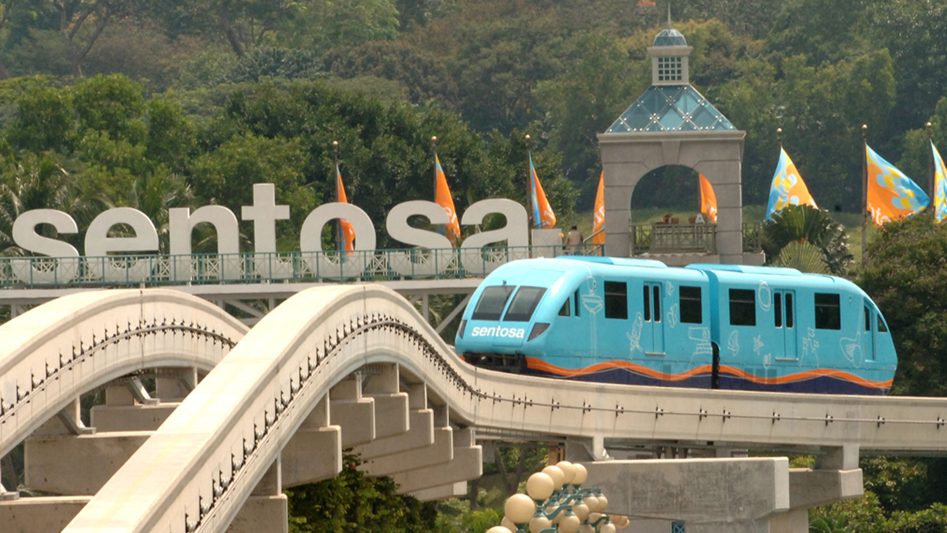 Looking from cable car down on waterpark on Sentosa Island ...