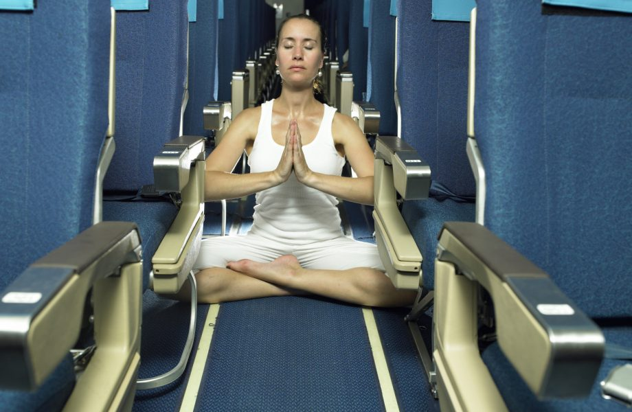 Yoga on airplane