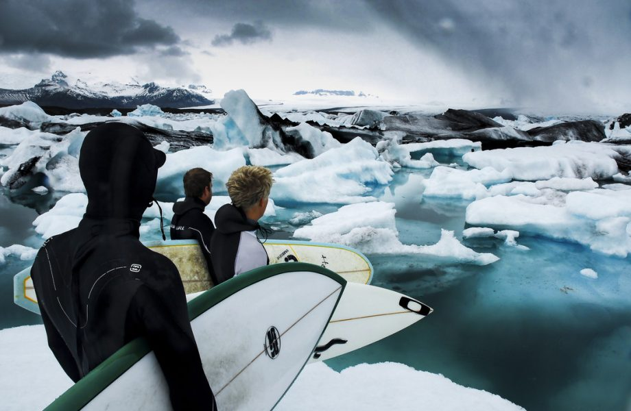 Preparing to surf in Iceland