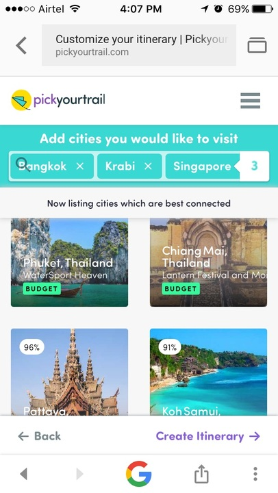 Screenshot of cities from How to plan a summer vacation across two countries in 4 steps!