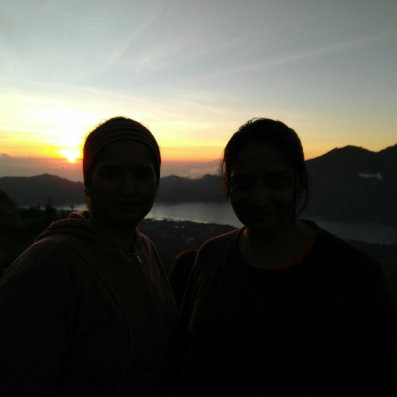 Catching sunrise at Mount Batur