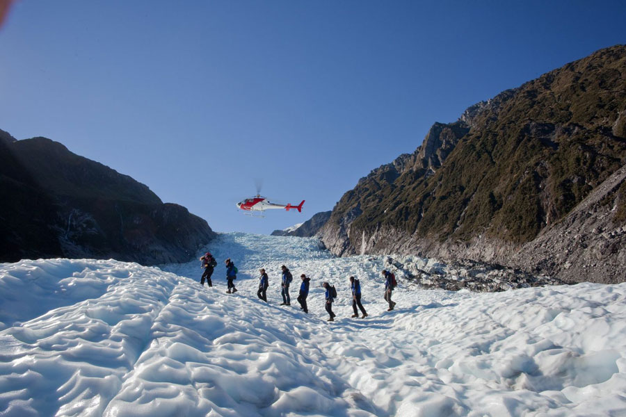 Heli-hiking on Fox Glacier honeymoon destination new zealand