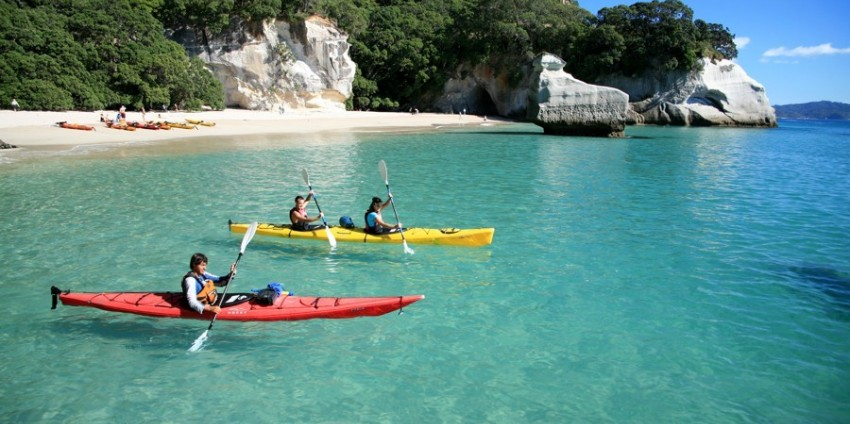 Go kayaking at the Haihei beach as a honeymoon destination in New Zealand